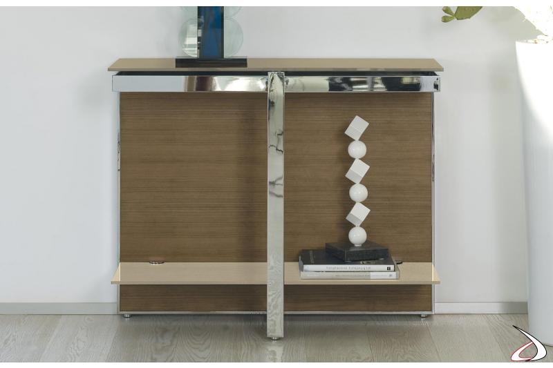 Consolle moderna in legno con piani in cristallo