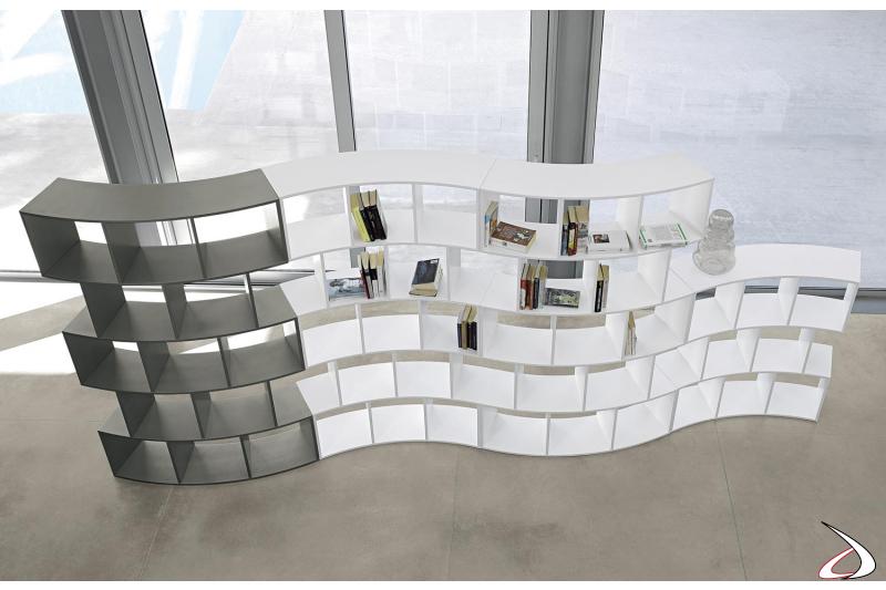 Libreria curva di design componibile bifacciale