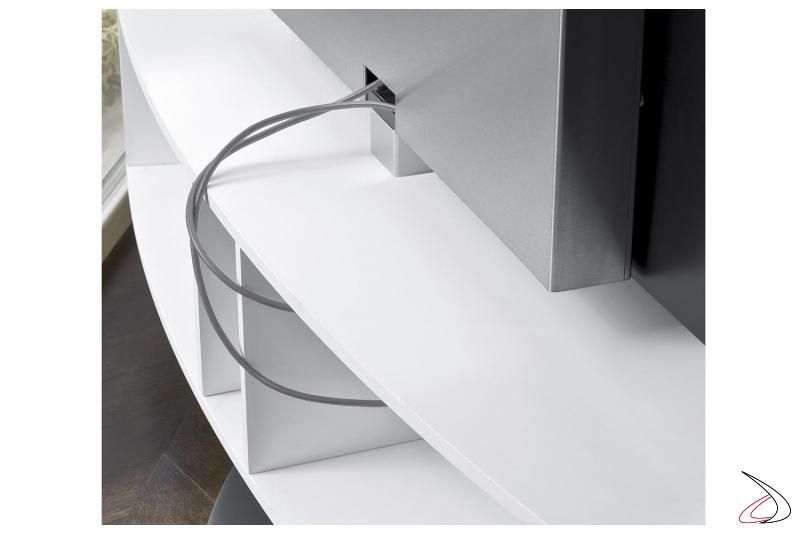 Porta tv di design con base a giorno per il passaggio di cavi
