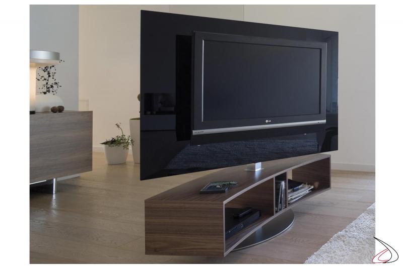 Porta tv moderno girevole con base a giorno curva