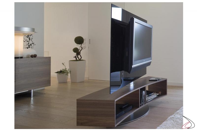 Mobile porta tv curvo e girevole con pannello