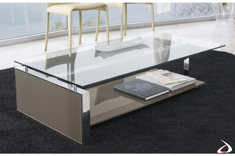 Design coffee table with glass top