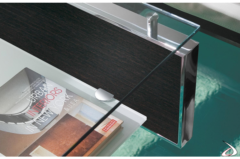 Design coffee table with transparent glass top