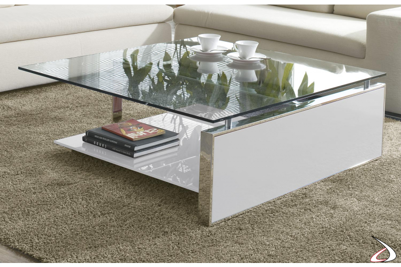 Modern square table with glass top