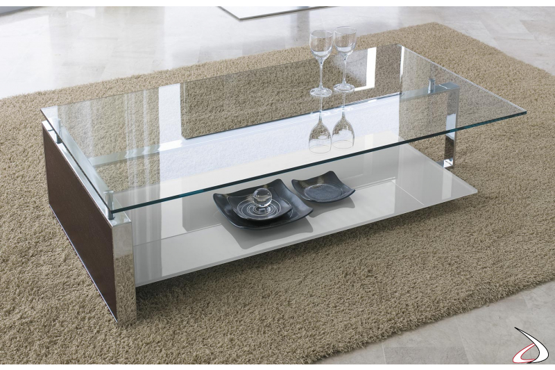 Rectangular Dining Table in wood with glass top
