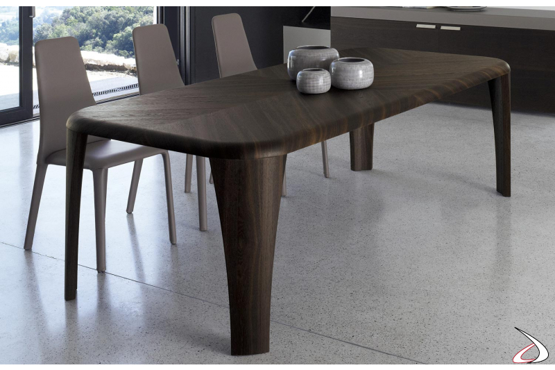 Contemporary wooden table with perimetrical legs