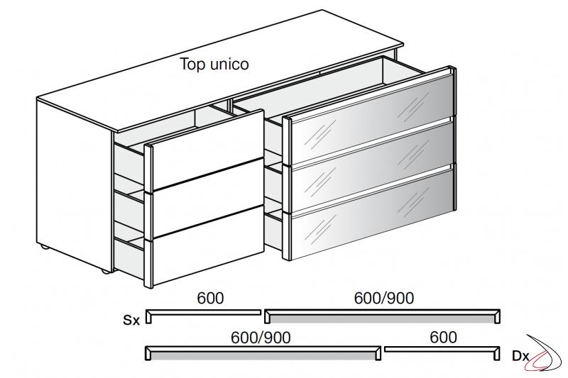 Dettaglio cassetti comò moderno composto