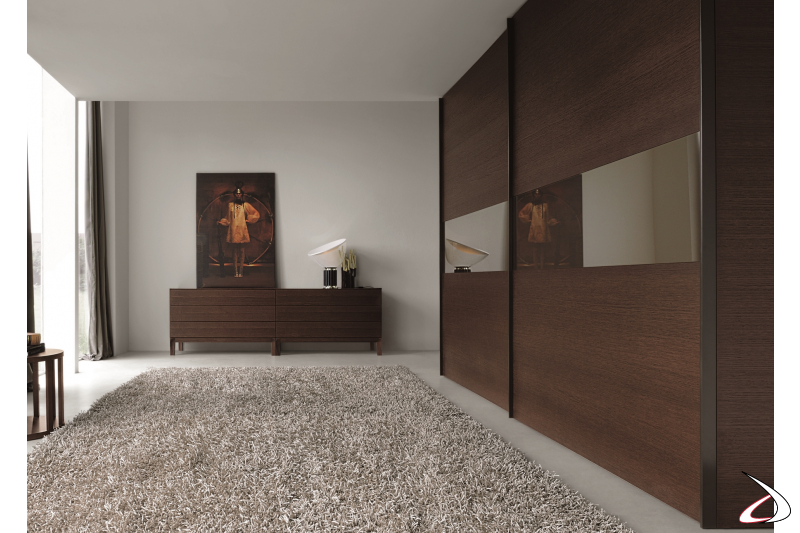 Wardrobe with 2 sliding doors with mirror finish