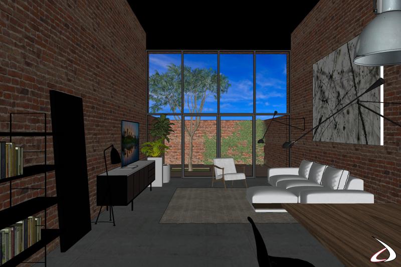 Progetto arredamento 3D zona living