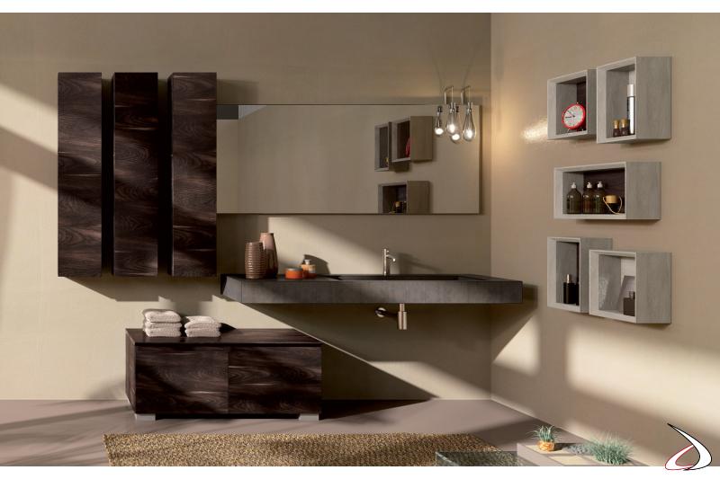 Mobile bagno moderno con pensili e basi a terra