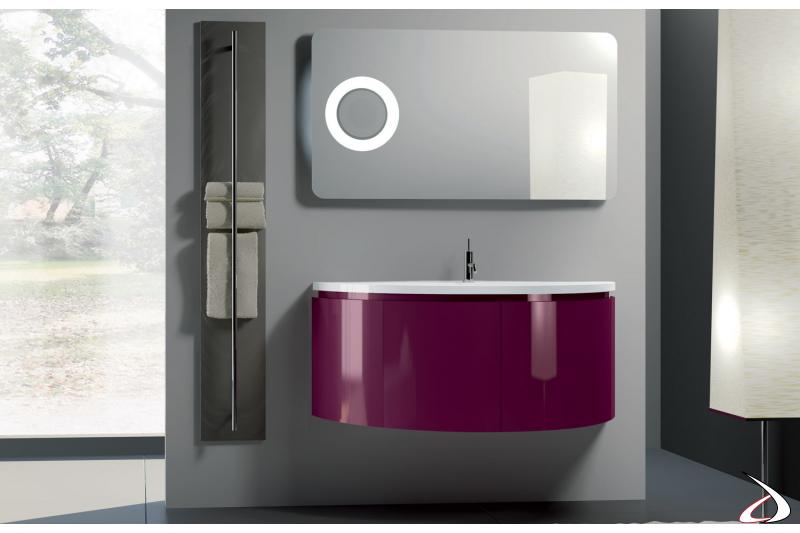 Arredo bagno moderno e sospeso con mobile curvo