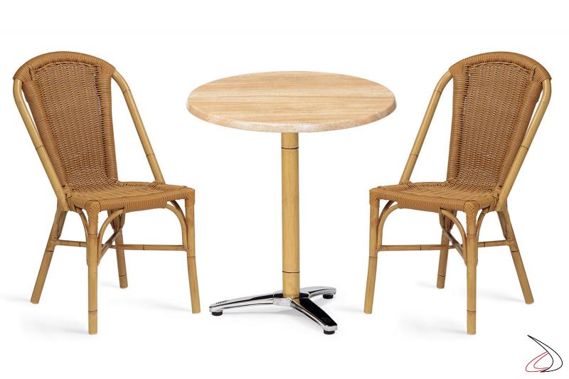 Set arredo veranda con tavolo e sedie con braccioli verniciato deco-bambù