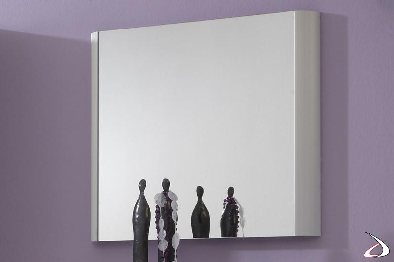 Specchio per ingresso con cornice alluminio sui due lati modello Melodie 1