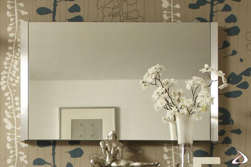 Specchio Bolero 2 con cornice in alluminio Millerighe.