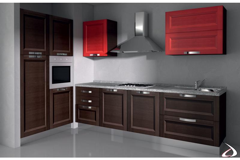 Cucina in legno ad angolo di design con cappa d'arredo