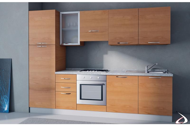 Cucina bloccata lineare in laminato con elettrodomestici