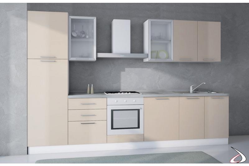 Cucina moderna bloccata in laminato con cappa d'arredo