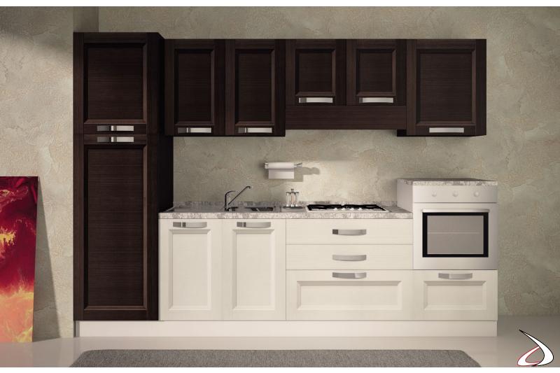 Cucina di design bloccata in legno bicolore
