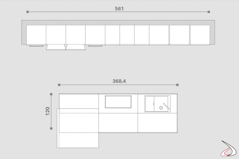 Design-Küchenplan mit zentraler Insel mit verschiebbarer Platte für Tischnutzung