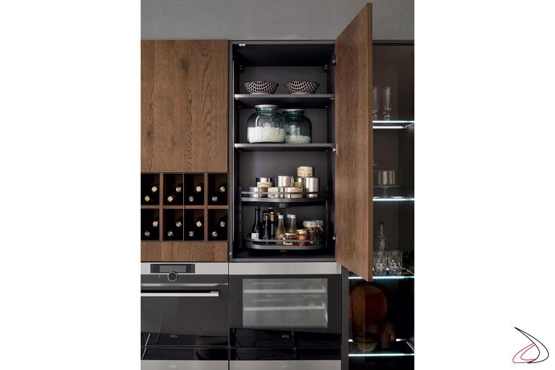 Modulare Design-Küche mit Oberschrank mit Gewürzregal Zubehör ausgestattet