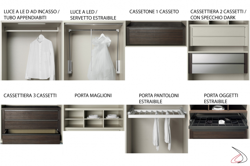 Interior equipment for wardrobe with sliding doors