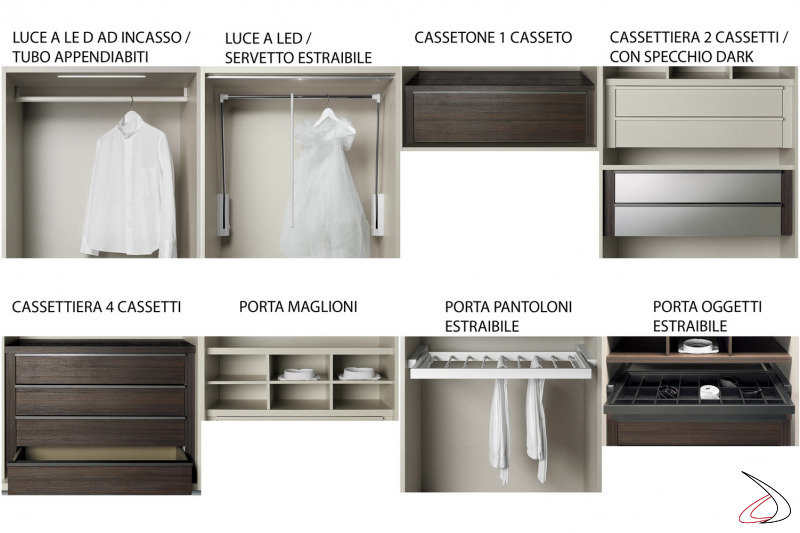 Internal equipment for the wardrobe