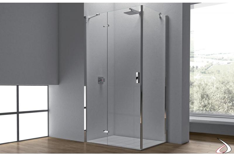 Box doccia ad angolo con un anta battente in cristallo