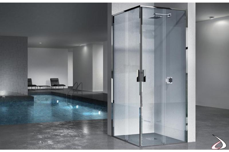 Cabina doccia angolare con porte scorrevoli in vetro