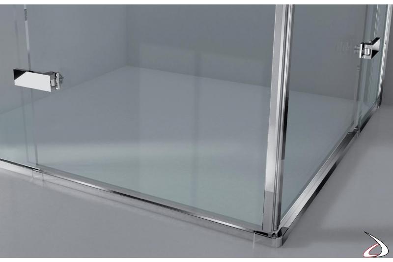 Box doccia angolo con profilo a cromo specchio