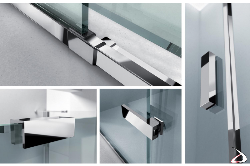 Box doccia con profili in alluminio cromati