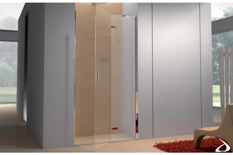 Porta doccia in cristallo per nicchia