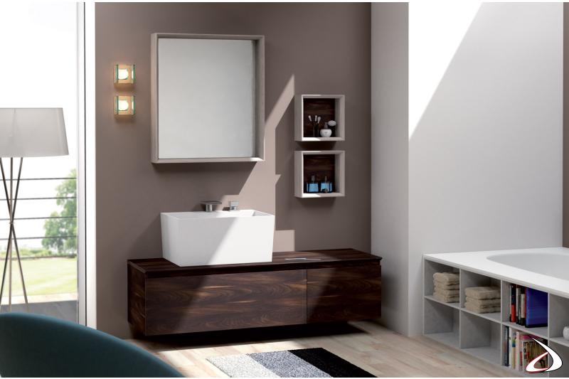 Mobile bagno moderno completo di specchiera e pensili a giorno
