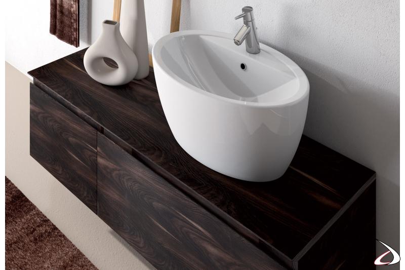 Lavabo in ceramica soprapiano con base cassettone