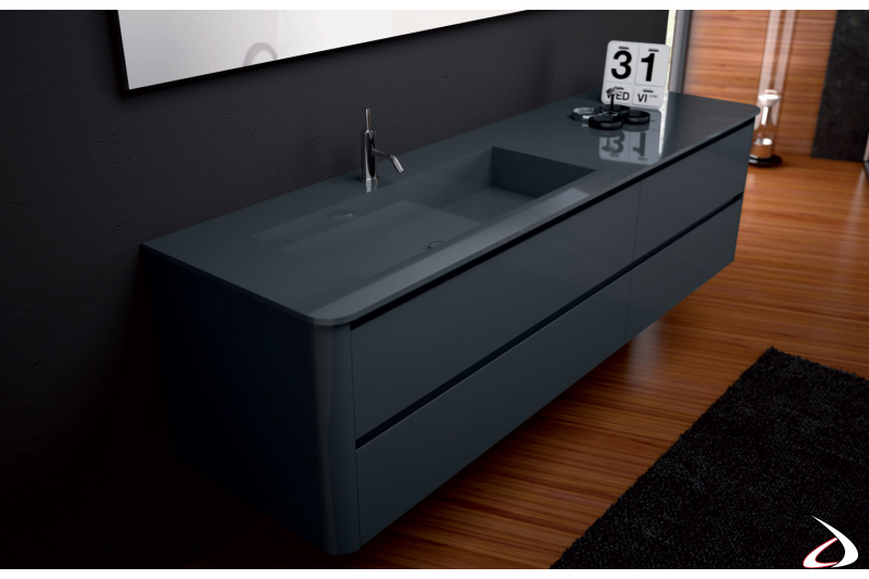 Mobile bagno con cassetti e lavabo colorato in geacryl