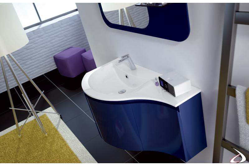 Base lavabo curvo con consolle in mineralmarmo