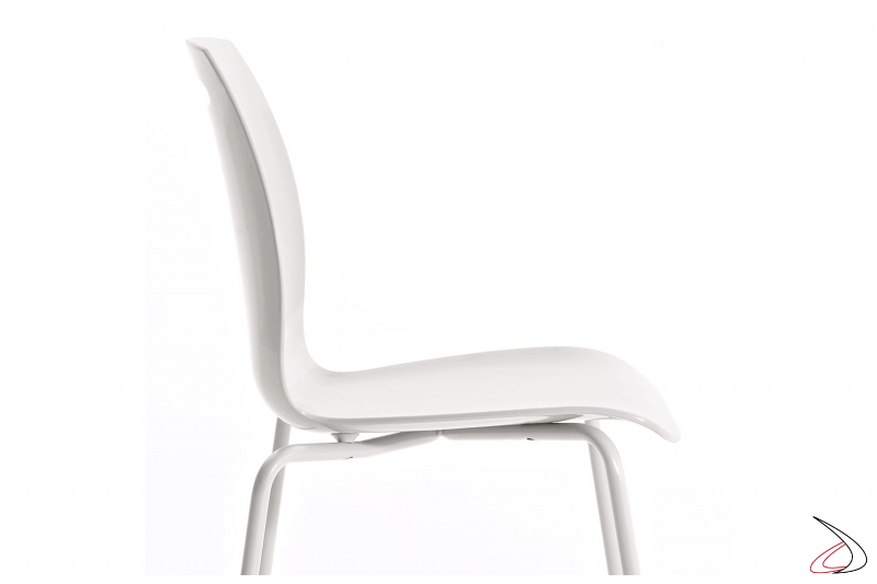 Sedia Bip moderna da cucina con seduta in tecnopolimero bianco
