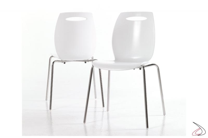 Sedie da soggiorno bianche moderne con 4 gambe in acciaio cromato