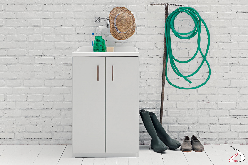 Mobile lavatoio 2 ante in metallo zincato da lavanderia o da esterno