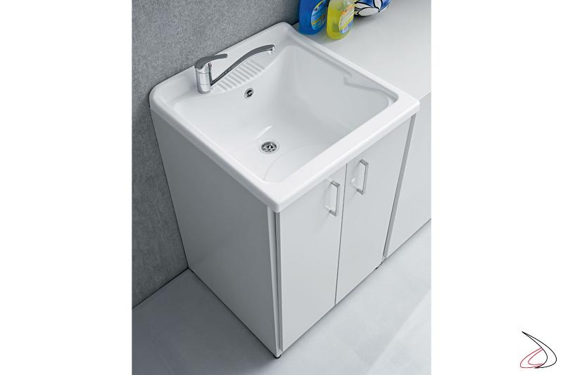 Mobile lavatoio da lavanderia in metallo zincato con 2 ante
