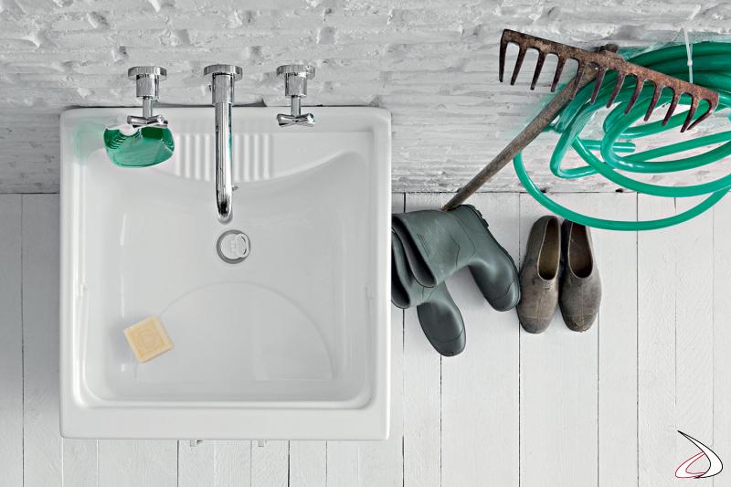 Mobile lavatoio da lavanderia o da esterno con vasca in metacrilato