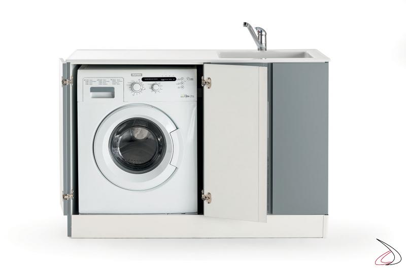 Lavatoio con vasca in metacrilato e mobile porta lavatrice a scomparsa
