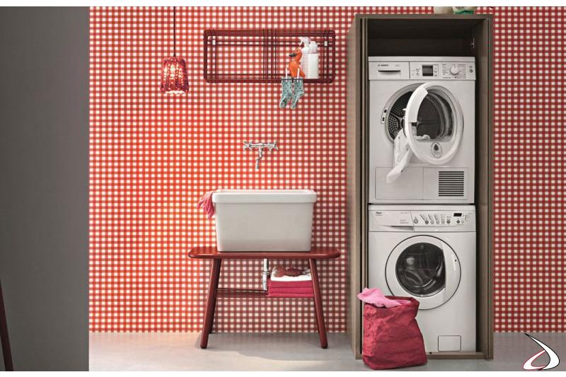 Armadio da lavanderia porta lavatrice e asciugatrice