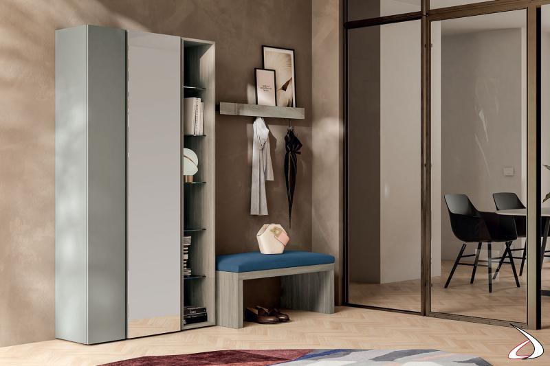 Mobile ingresso di design con armadio a ripiani in vetro mensola porta abiti e panca