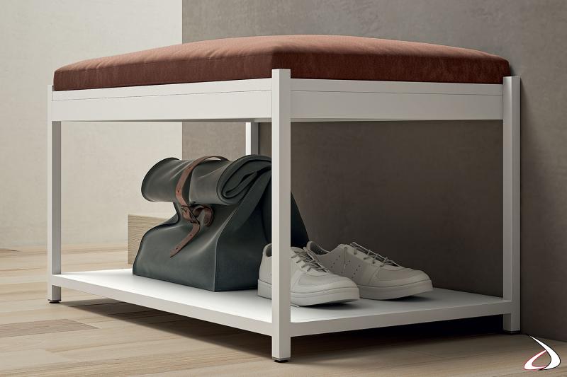 Panca da ingresso di design con ripiano porta scarpe e cuscino imbottito