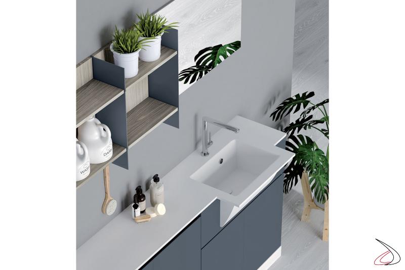 Arredo lavanderia con lavatoio con vasca in marmo minerale
