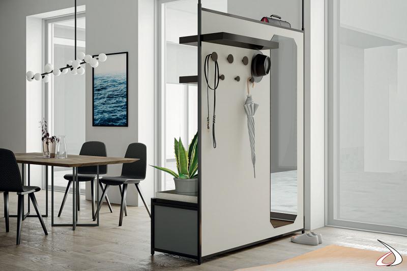 Mobile entrata bifacciale di design con specchio, appendiabiti e mensola