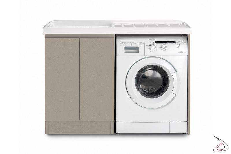 Mobile lavatoio a 2 ante con porta lavatrice e vasca in metacrilato