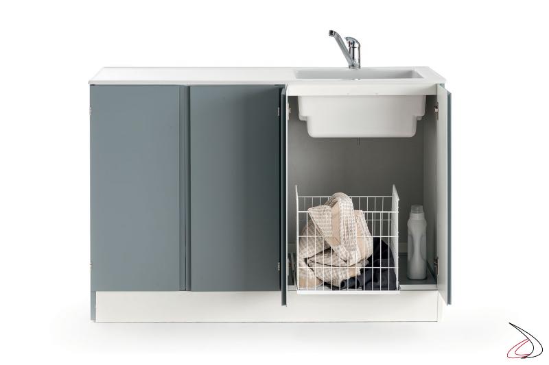 Mobile lavanderia con lavatoio con cesto porta panni e copri lavatrice