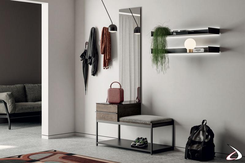 Mobile ingresso completo di panca, cassetto, mensole retroilluminate e specchiera