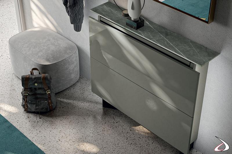 Scarpiera moderna da soggiorno con top in gres porcellanato